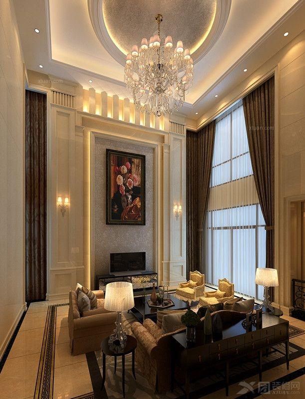 独栋别墅简欧风格客厅电视背景墙图片