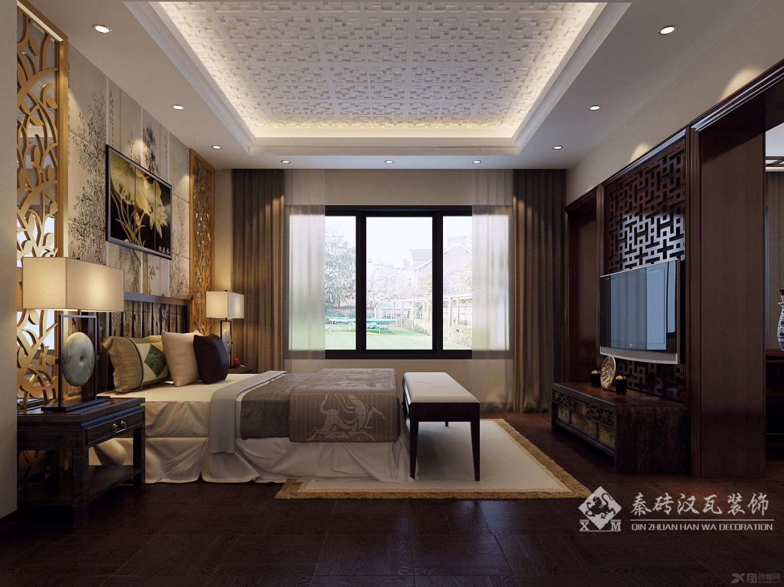 复式楼中式风格客厅_王总中式装修效果图-x团装修网图片