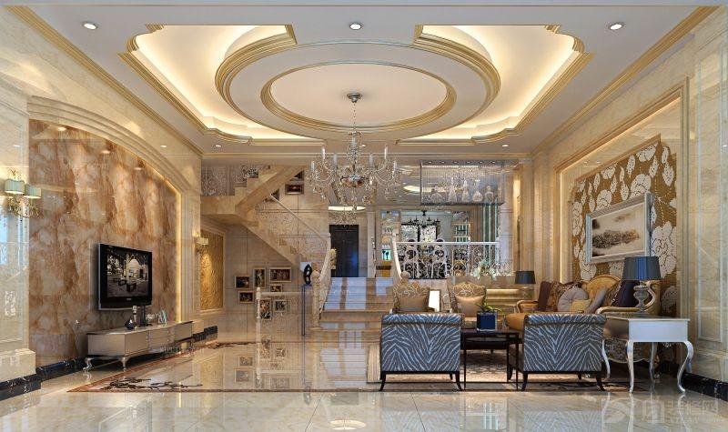 别墅欧式风格客厅电视背景墙_金山谷装修效果图图片