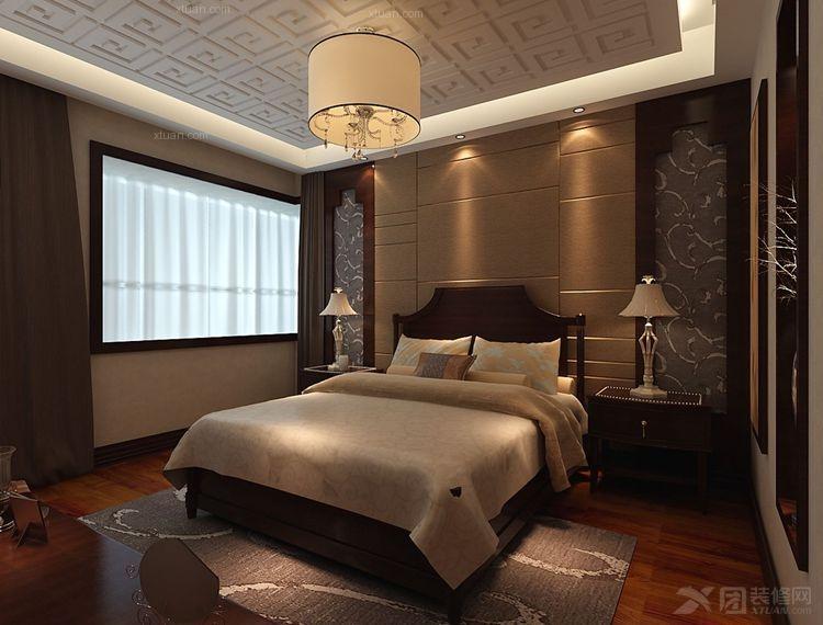 四居室中式风格卧室卧室背景墙_盛唐至尊装修效果图