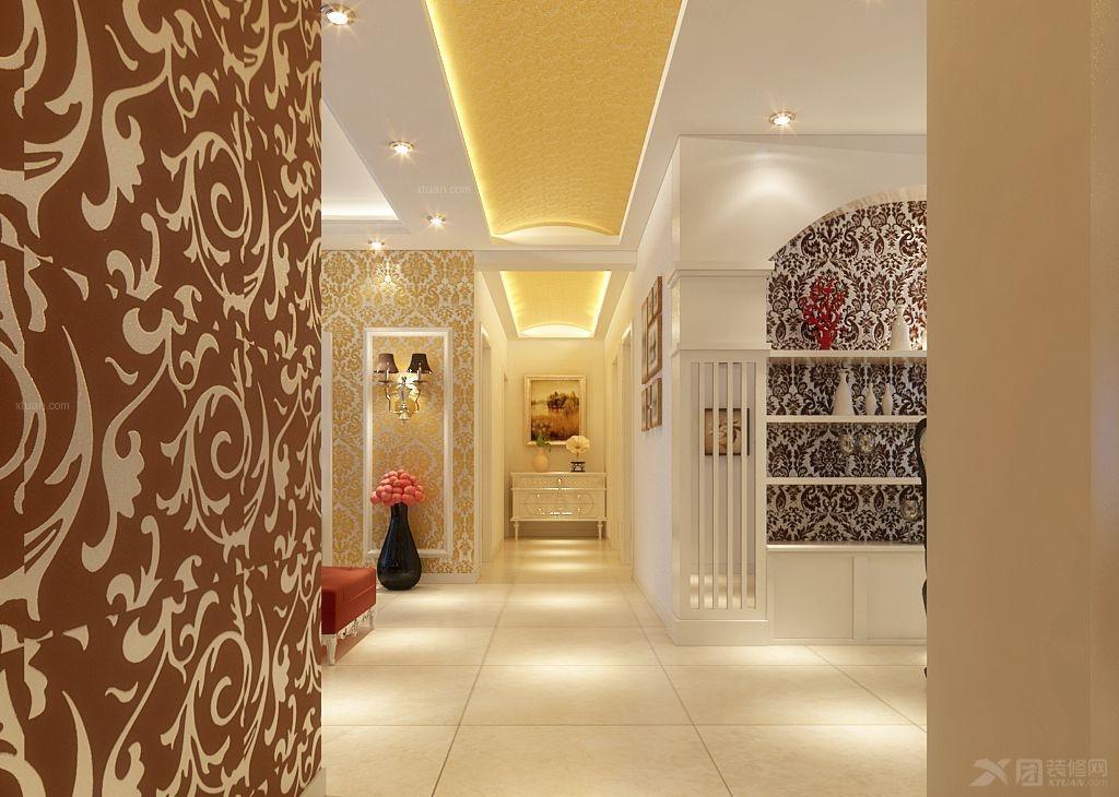 三室两厅欧式风格过道电视背景墙
