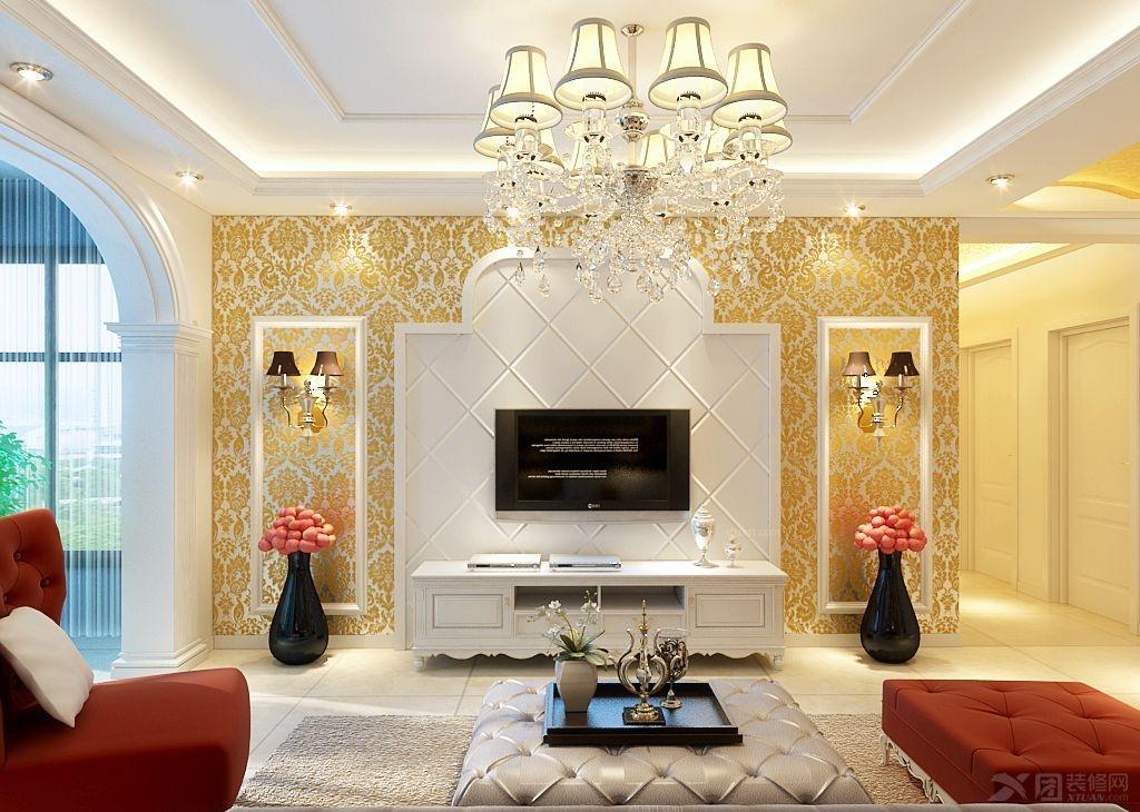 三室两厅欧式风格过道电视背景墙_帝都国际城装修效果