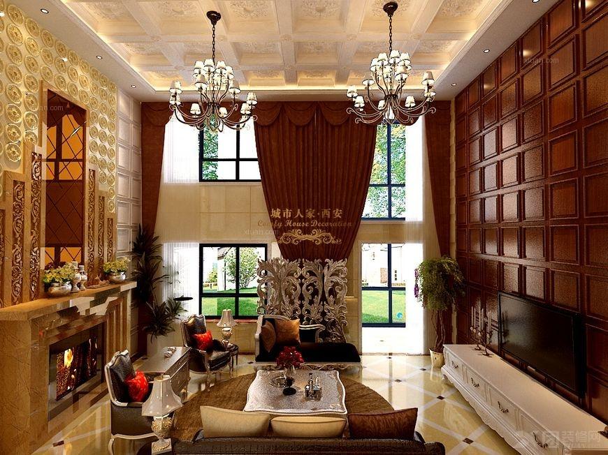 【西安城市人家】曲江南湖一号复式楼设计:宫廷范的欧式古典效果