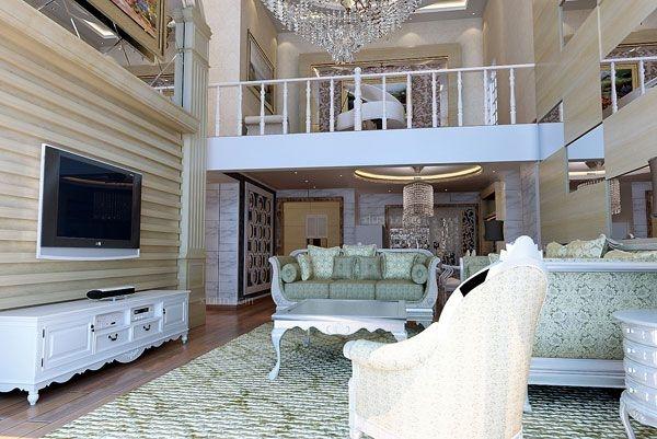 别墅现代风格客厅_东安御花园复式楼装修效果图-x团