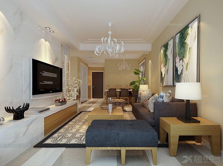 两居室现代简约背景橡树客厅墙_效果湾客餐厅装修电视简洁的景观设计图片