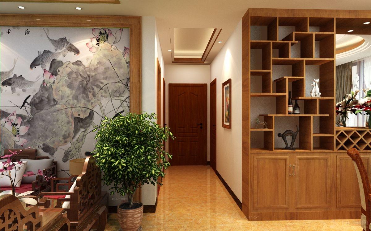 三室两厅中式风格客厅客厅隔断_山水凤凰城装修效果图
