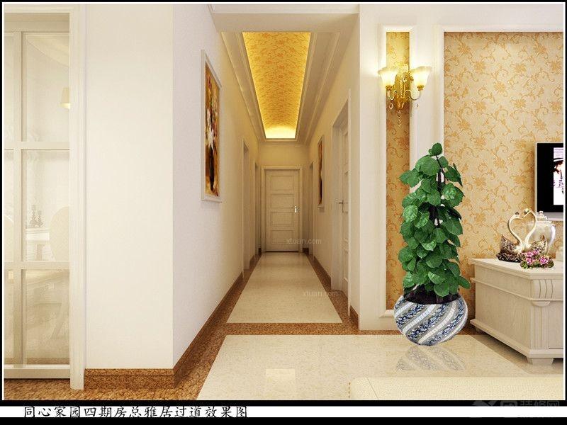 四居室简欧风格过道圆形吊顶_同心家园四期2栋装修图图片