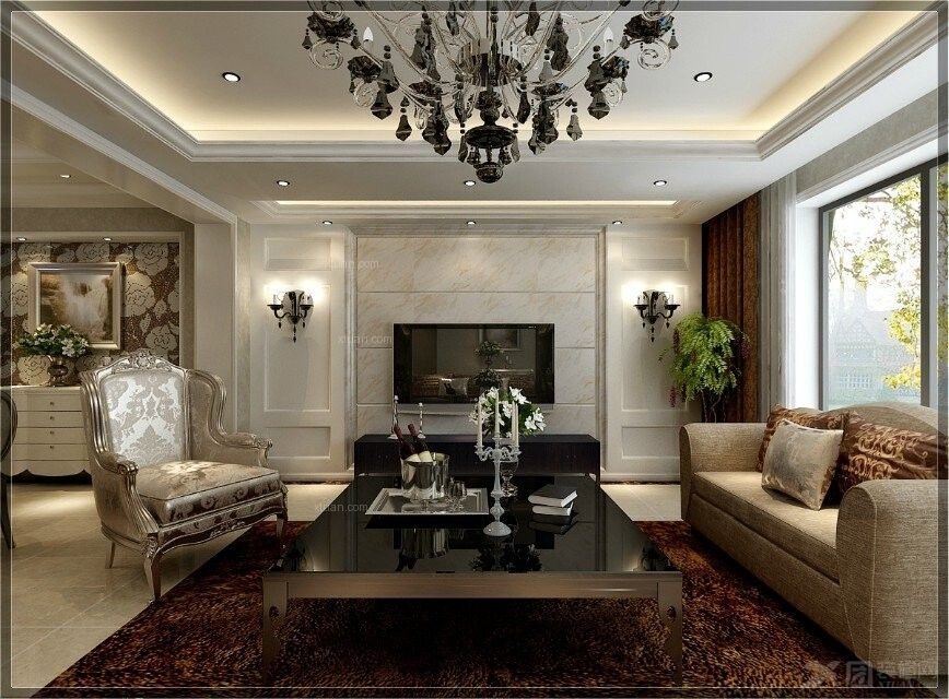 四居室简欧风格客厅电视背景墙