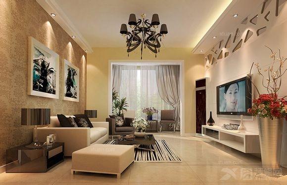 三居室客厅墙绘
