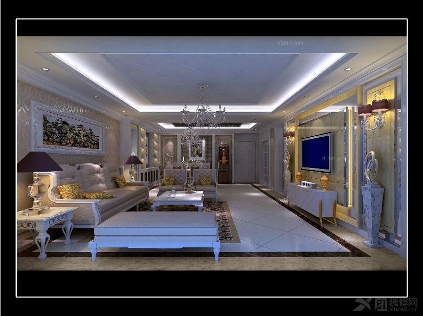 四居室简欧风格客厅_天鹿山1街9栋2302设计图装修效果