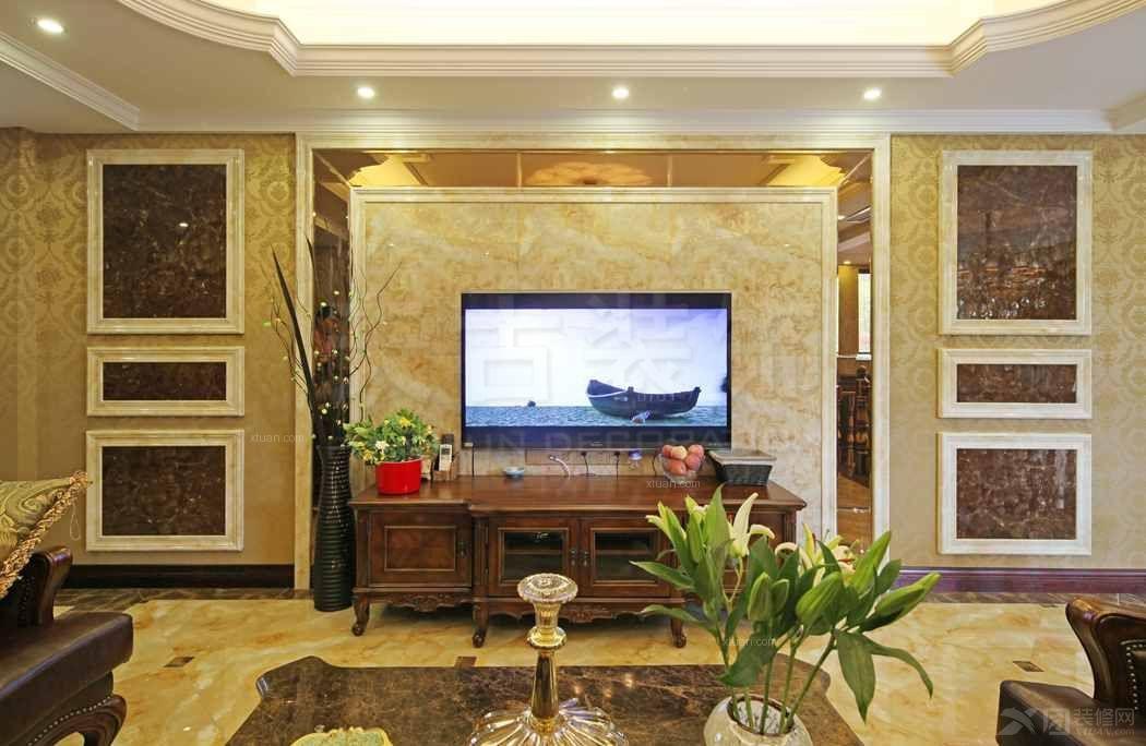 跃层欧式风格客厅电视背景墙_金科阳光小镇轻欧设计