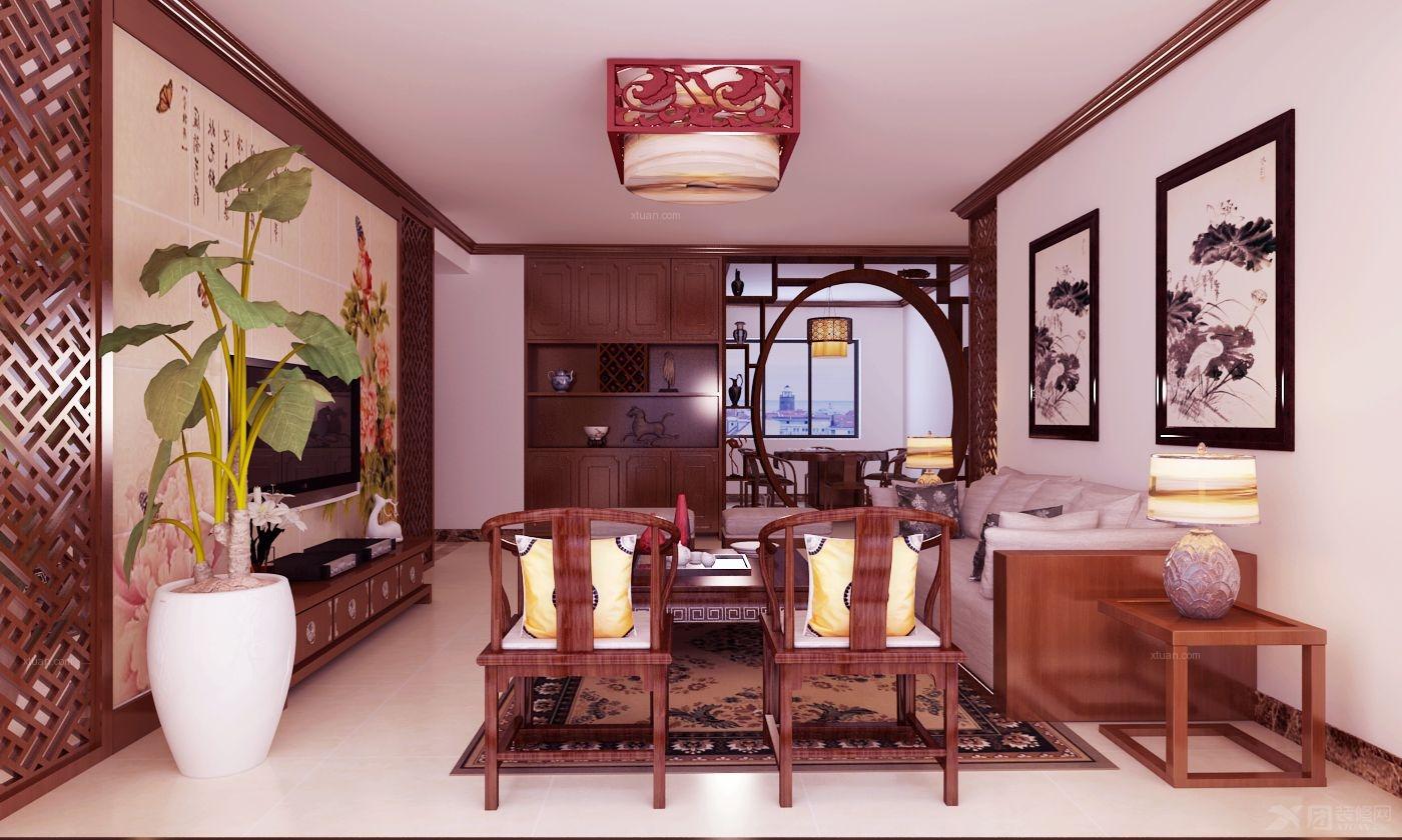 四居室中式风格客厅照片墙