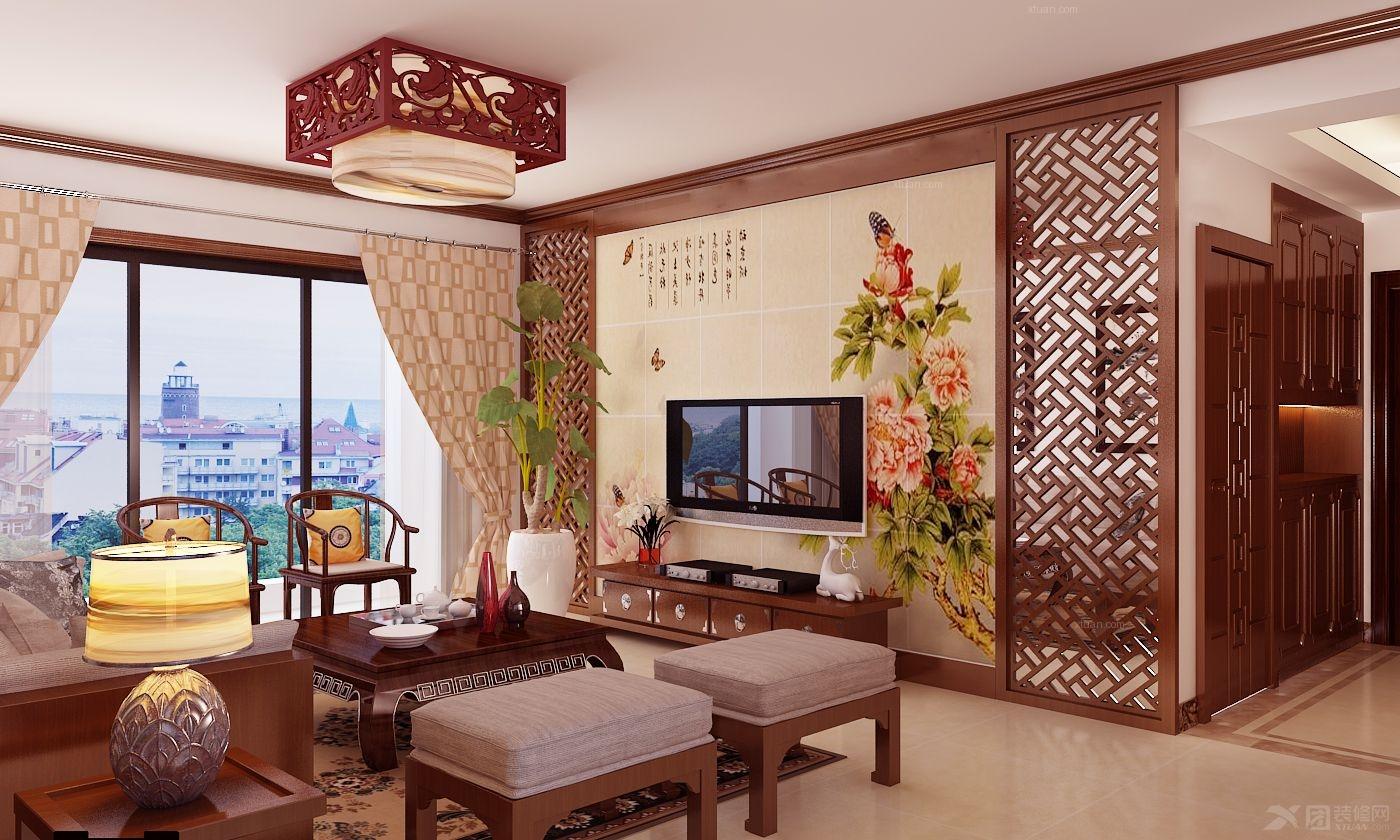 四居室中式风格 客厅电视背景墙 _中式客厅电视墙效果图