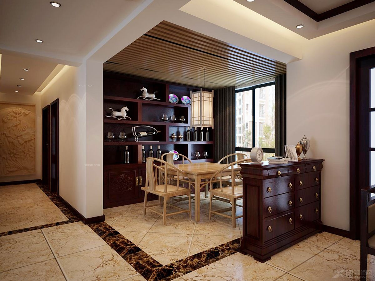 三室两厅中式风格餐厅客厅隔断