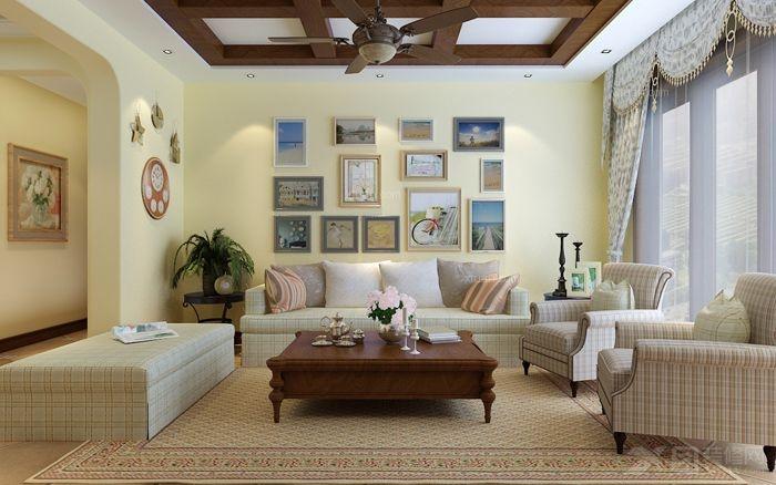 三居室田园风格客厅沙发背景墙