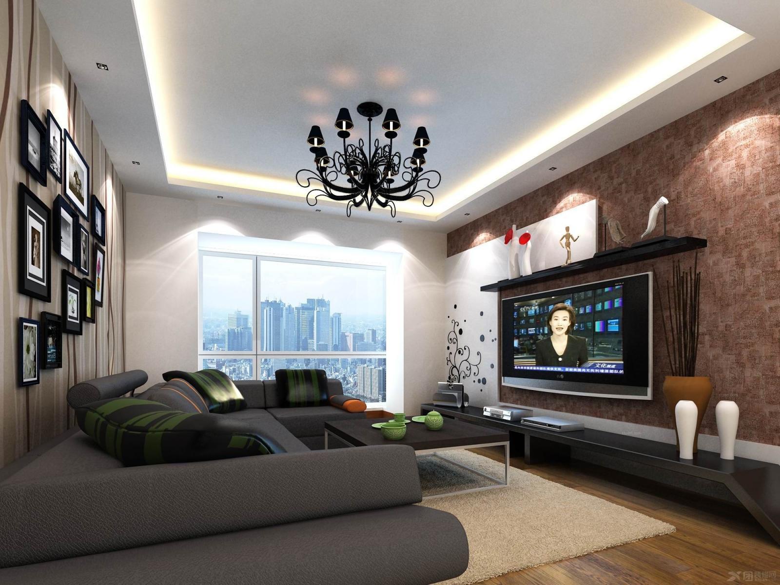 小户型现代风格客厅电视背景墙