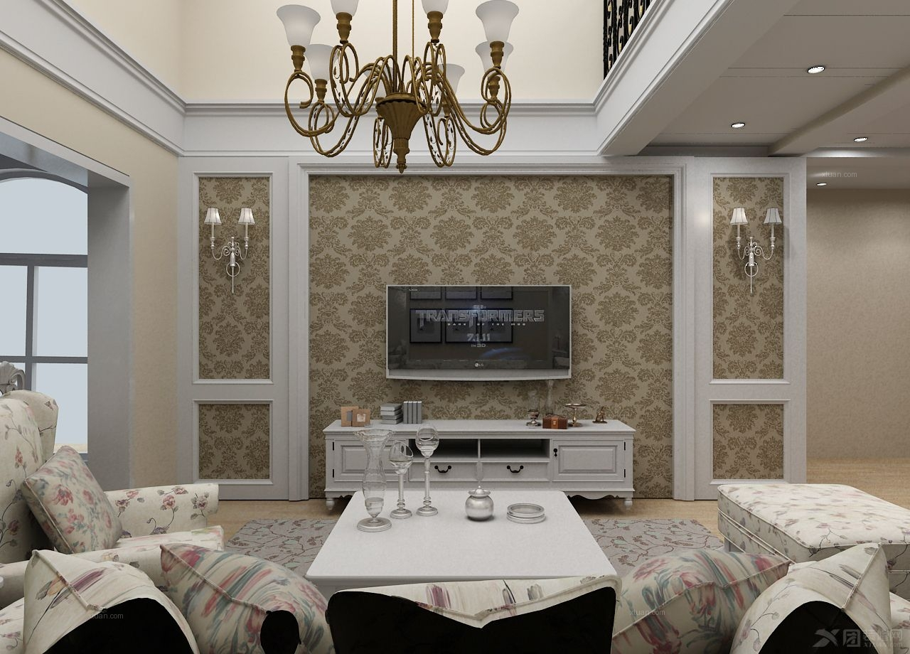 跃层田园风格客厅电视背景墙
