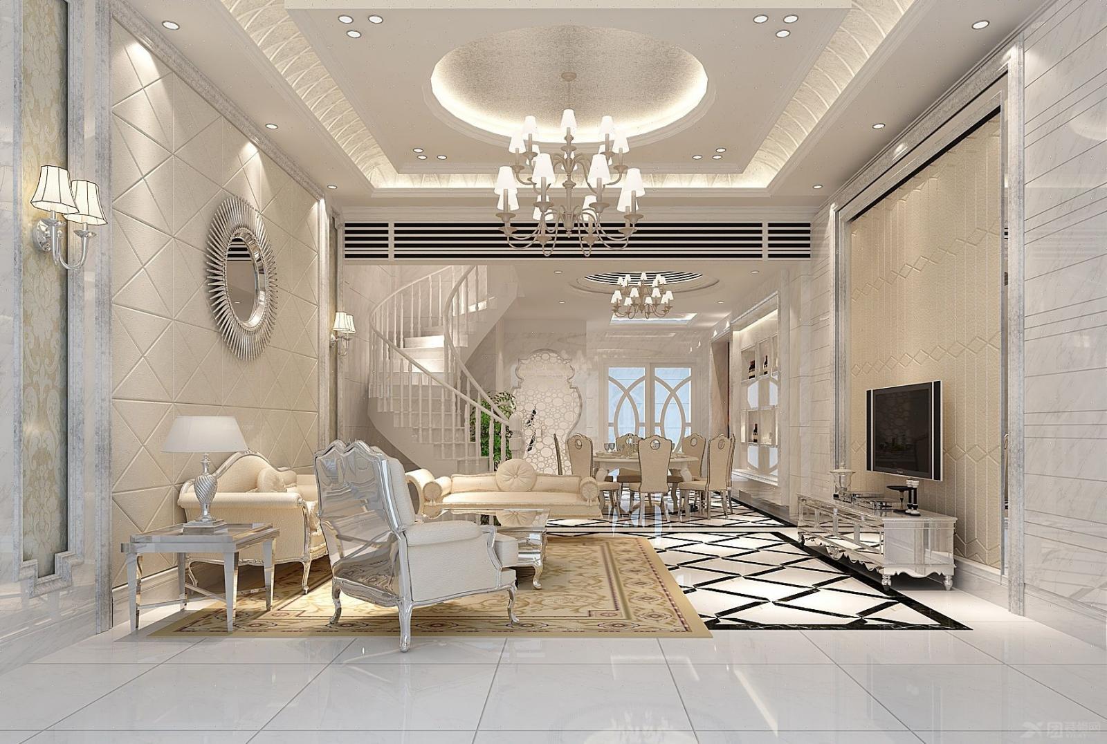 别墅简欧风格客厅图片