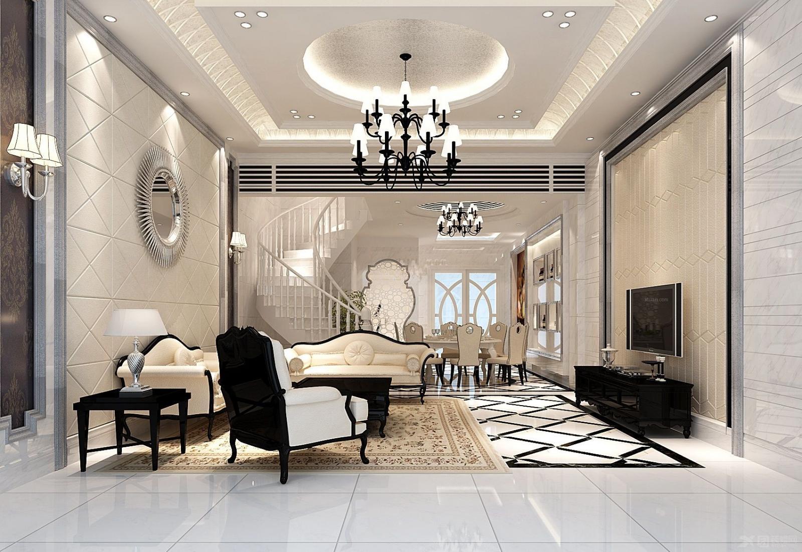 别墅简欧风格客厅电视背景墙图片