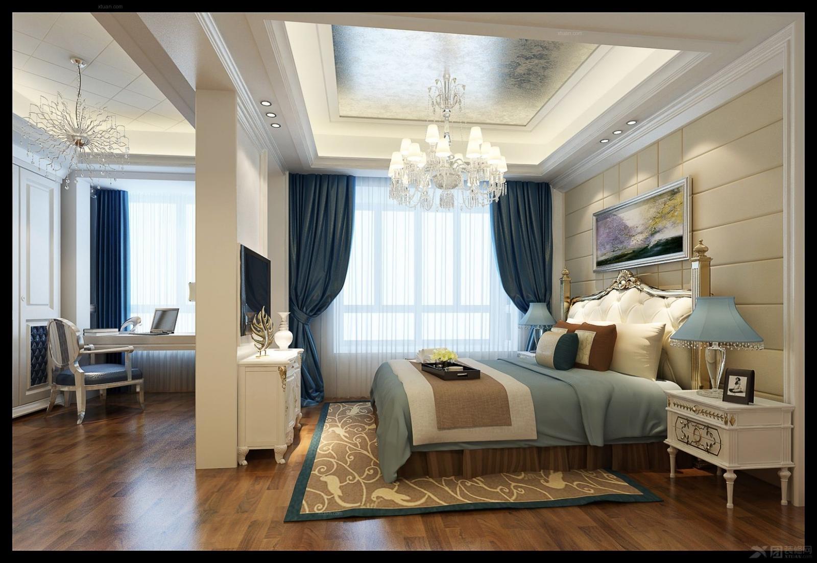简欧风格卧室装修效果图图片