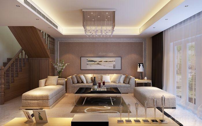 复式楼现代简约客厅沙发背景墙_山景叠院6号楼图片