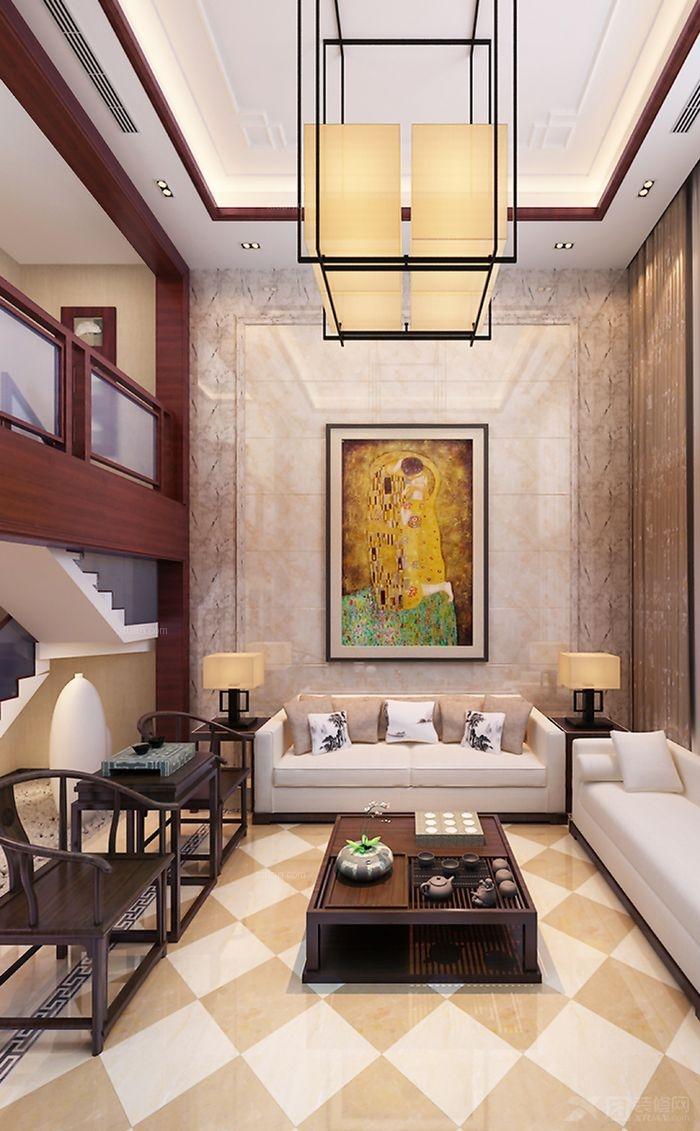 复式楼欧式风格客厅沙发背景墙图片