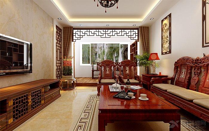 三室两厅中式风格客厅地台