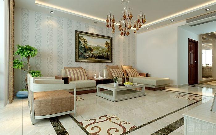 复式楼欧式风格客厅沙发背景墙