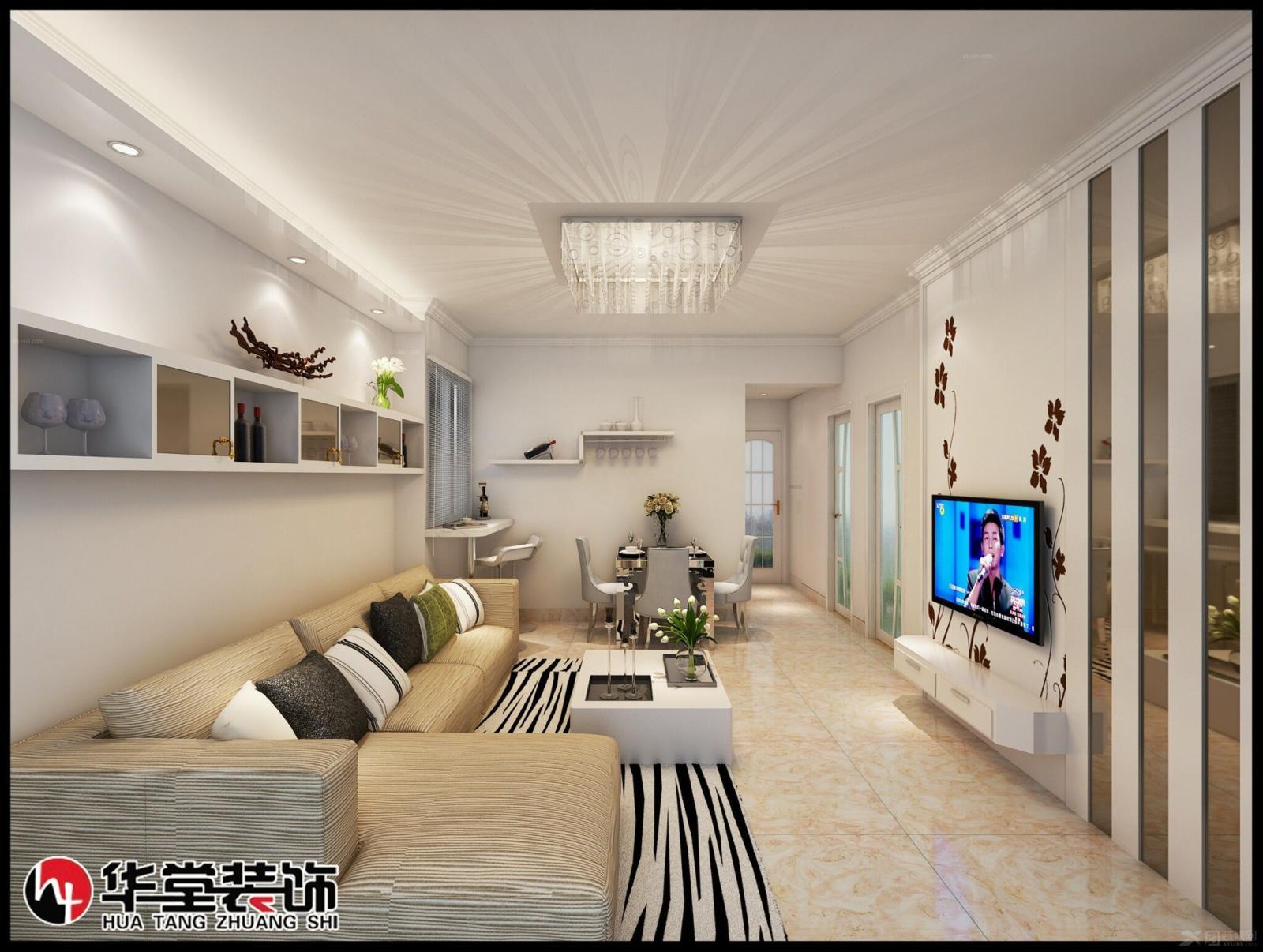 小户型现代简约客厅电视背景墙_冠城国际单身公寓装修图片
