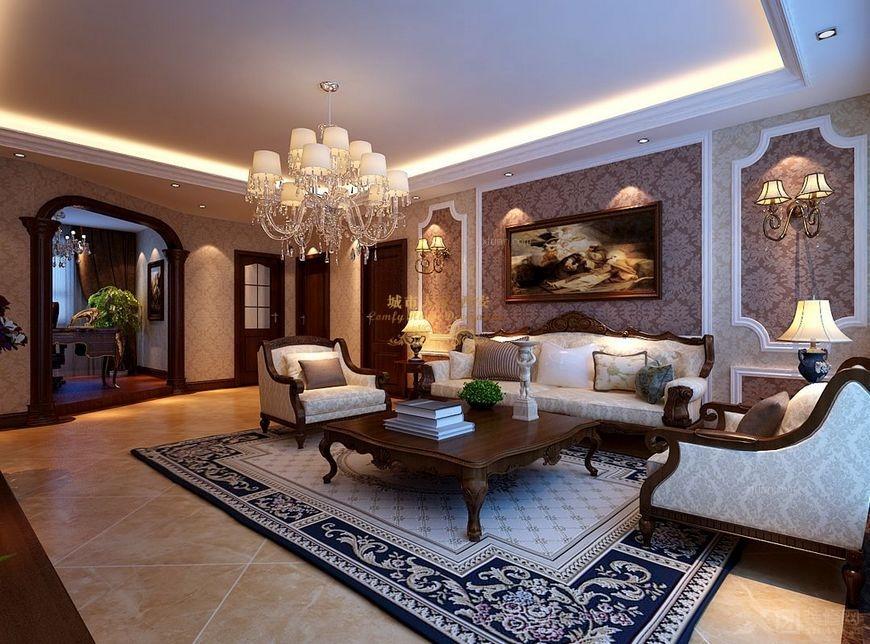 三居室欧式风格客厅沙发背景墙图片
