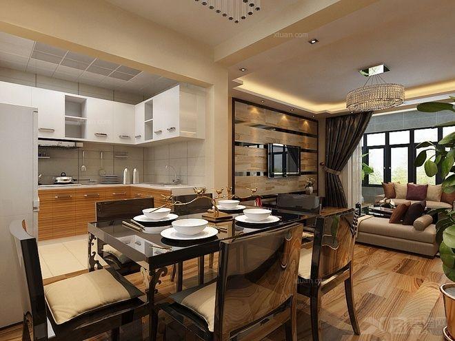 大户型中式风格餐厅开放式厨房