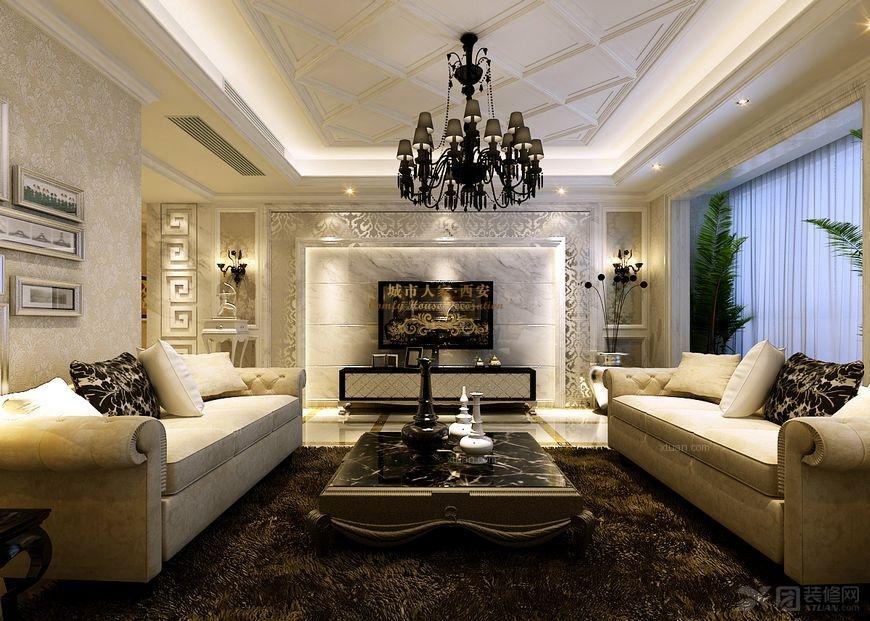 大户型欧式风格客厅电视背景墙