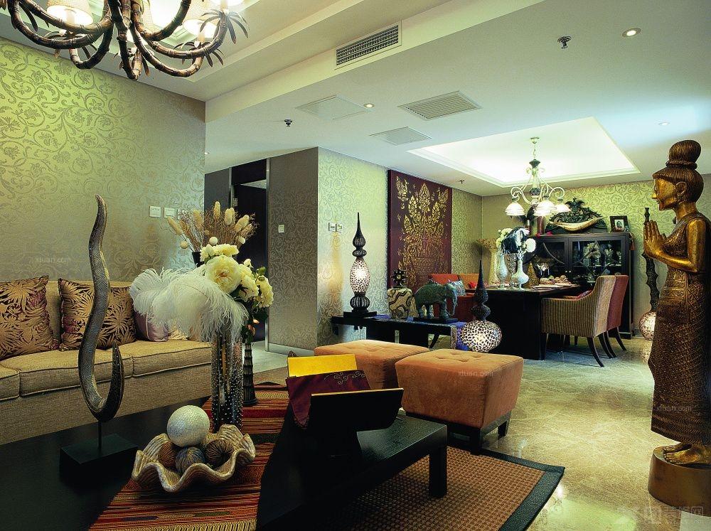 两居室东南亚风格客厅电视背景墙