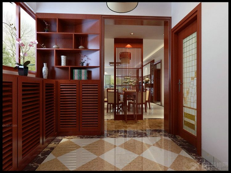 三居室现代简约客厅厨具_金沙角简约红木风装修效果图