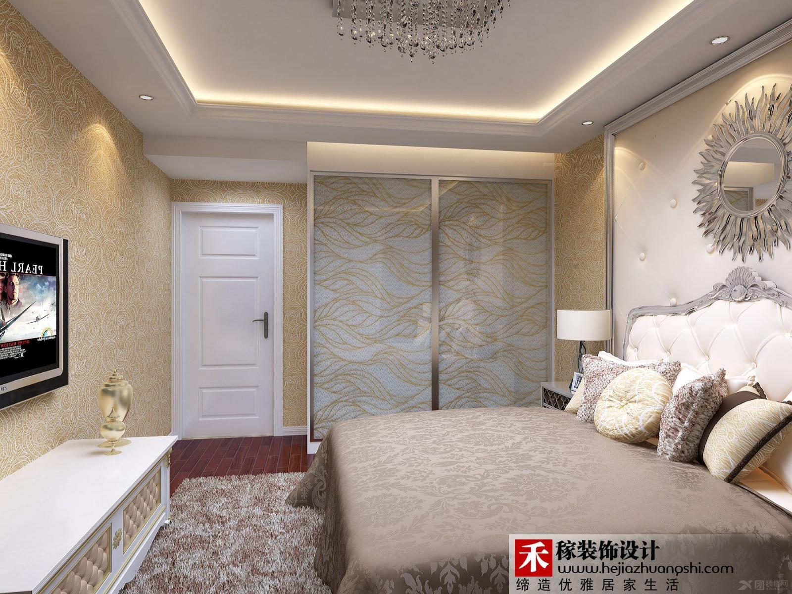 别墅欧式风格卧室卧室背景墙图片
