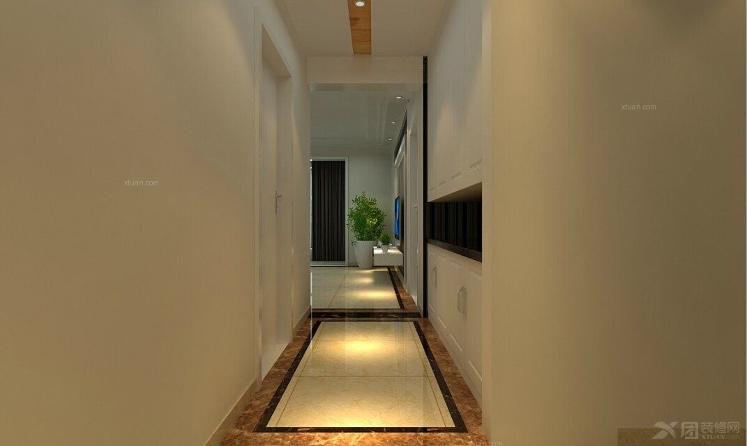 三居室简欧风格过道墙绘