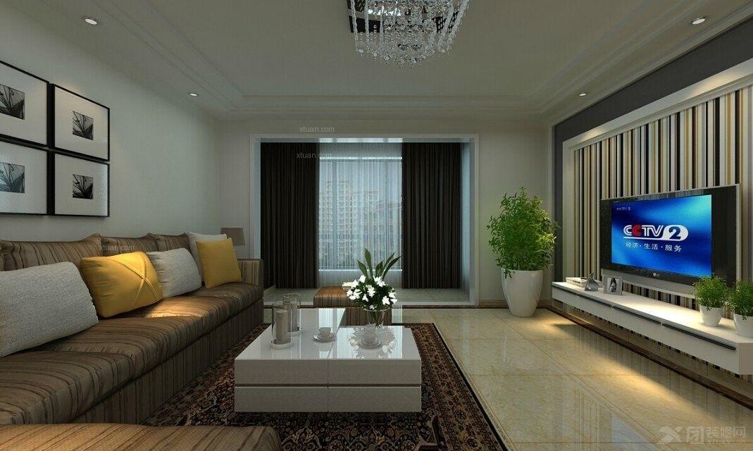 三居室简欧风格客厅沙发背景墙