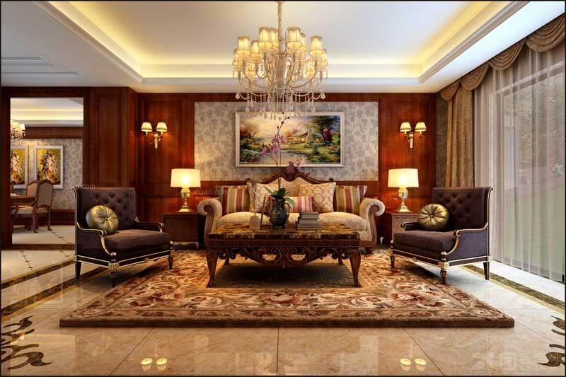 别墅美式风格客厅_学府春天美式风格装修效果图-x团图片