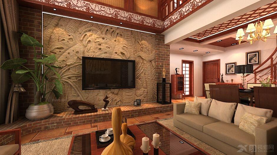 复式楼东南亚风格客厅电视背景墙