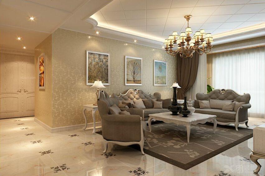欧式客厅装修效果图 沙发背景墙效果图 欧式客厅沙发 欧式客厅吊顶