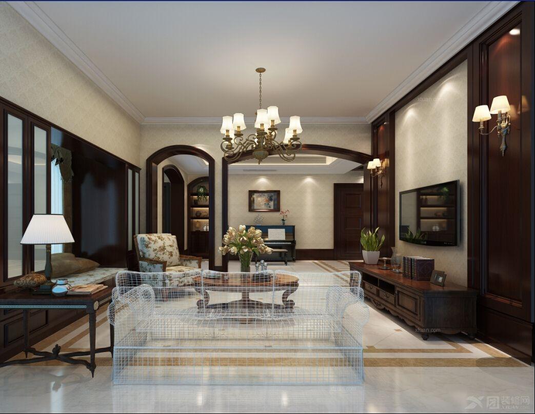 别墅美式风格客厅沙发背景墙图片
