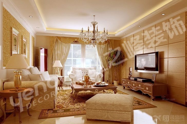 两室两厅简欧风格客厅_金色和园装修效果图-x团装修网图片