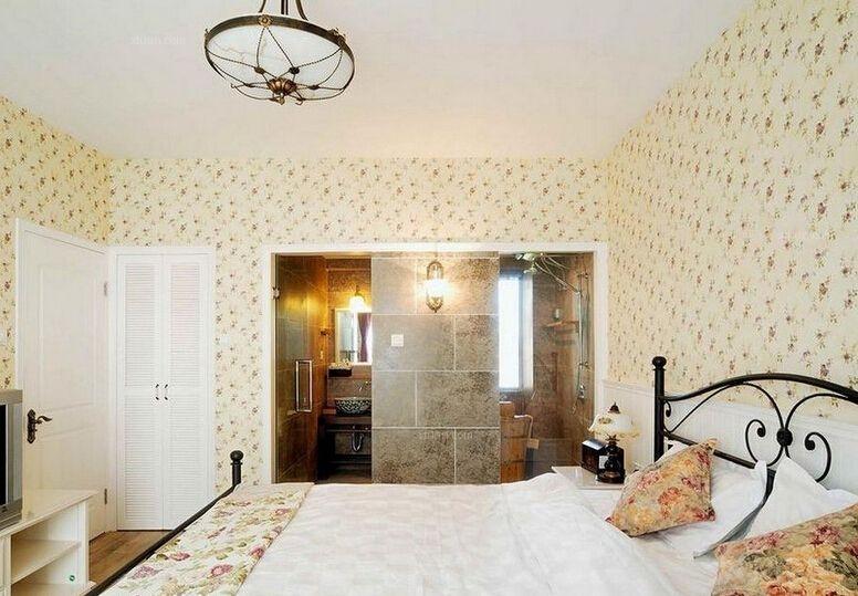 三居室田园风格卧室照片墙