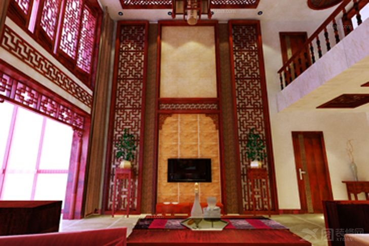复式楼中式风格客厅