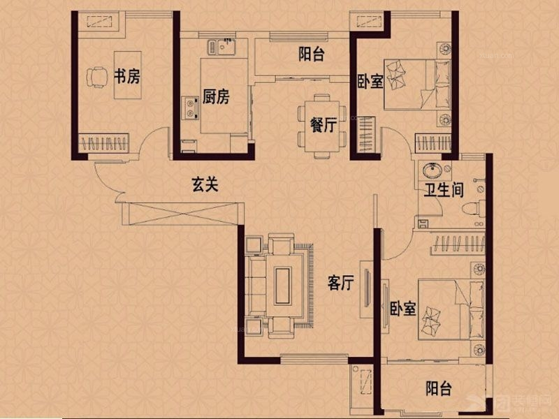 力高国际121平欧式三居装修
