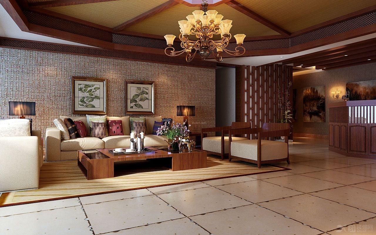 四居室东南亚风格客厅沙发背景墙
