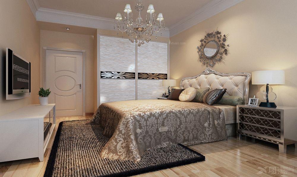 两室两厅混搭风格卧室电视背景墙