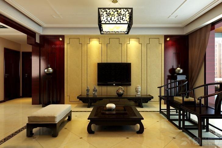 三居室中式风格客厅软装