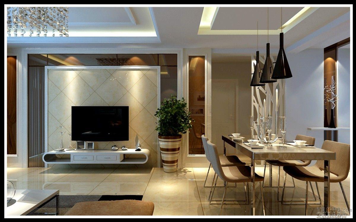大户型现代简约客厅电视背景墙