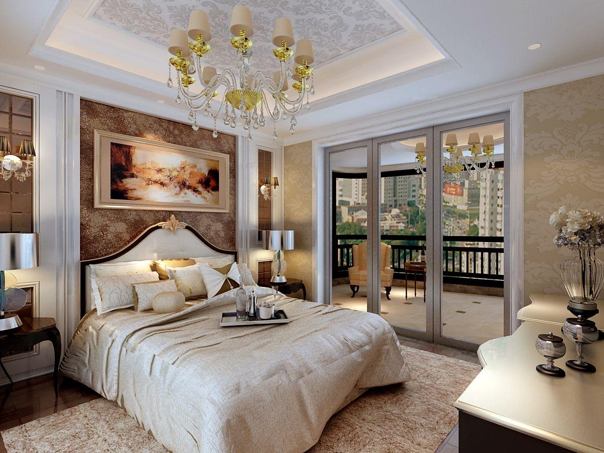 三室两厅简欧风格主卧室_合江江语长滩装修效果图图片